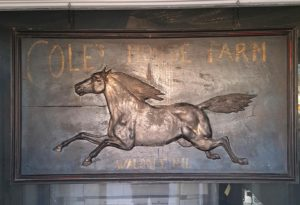 Old Vintage  Trade & Folk Art type sign for Coles Horse Farm Sign , From Walpole New Hampshire........Made of Wood  & Horse is Metal.....$12,800