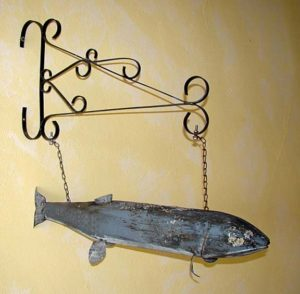 Carved Wood  Fish, , Old original  Trade Sign for Bait & Tackle Store ...$3750
