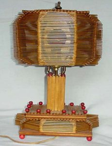 Vintage Folk Art Popsicle Sticks Lamp...Excellent condition..$180