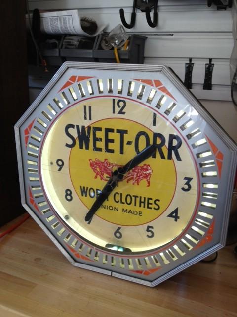 Sweet Orr Neon Clock