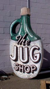 "Old Original 2 sided sign from "" The Jug Liquor"".....Came from the Boston Ma. Area.....made from wood & metal. & approx 8' tall....$1650"