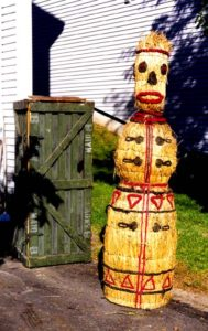 This was used as a prop for a play & believe it was called Snow Maiden..It came out of a Chicago Prop house...Made from straw & has its own carrying crate...approx. 6' tall.....$1950