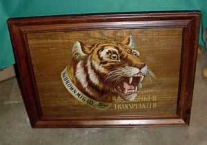 Old Original sign for Tiger Trans planter I would guess it from the 1940's...Its all wood with the tiger in paint..excellent condition..... $1250