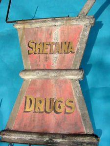 Very Early Smetna Drugs Mortar & Pestal Trade Sign..Made from Zinc &  retains original paint..Approx. 5' tall ^ its 2 sided & complete.....$6950