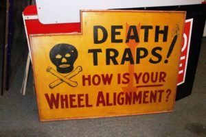 Old Signed original Folk Art Type Trade Sign for Wheel Alignment..Excellent condition, On Wood..$4200