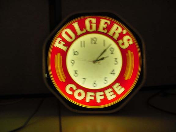 "neon coffee clock with Folger's…..""SOLD"""