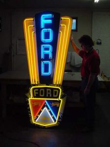 Porcelain Neon Ford Jubilee Sign Old Original & RARE from 1953