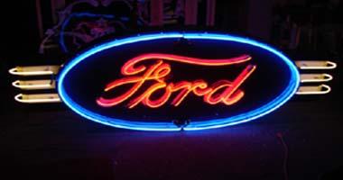 Vintage Original Ford Neon Porcelain Sign